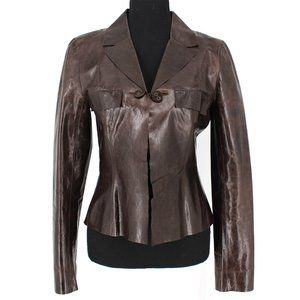 CHANEL 2002 Calfskin Leather Lightweight Jacket 36